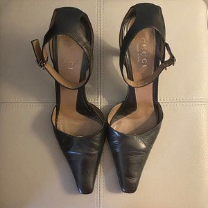 Black Leather Gucci Heels